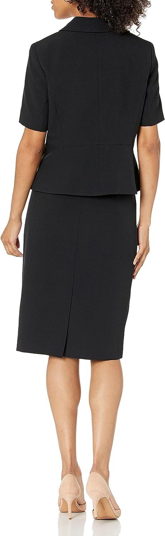 Le Suit Women's 3 Button Shawl Collar Stretch Crepe Skimmer Skirt Suit