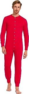 Men One Piece Pajama Button Down Long Sleeve Union Suit Sleepwear ZE329
