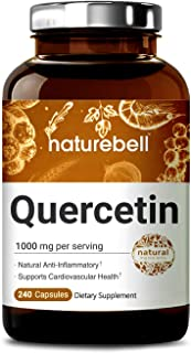 NatureBell Quercetin 1000mg Per Serving, 240 Capsules, Powerfully Supports Cardiovascular Health, Immune System and Bioflavonoids for Celllular Function, No GMOs and Made in USA.