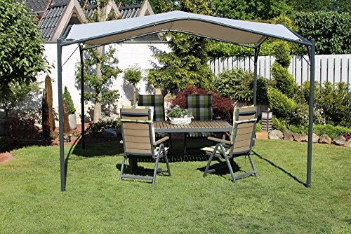 Beauty.Scouts Pavillon Modern Base Parytzelt Sonnendach Dach grau Stahlrohr hochwertig standfest wetterfest 350 x 350 x 262 cm