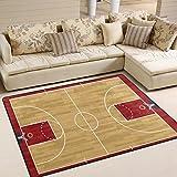 Use7?Basket-Ball Cour r¨¦tro Zone Tapis Tapis Tapis pour Le Salon Chambre ¨¤ Coucher, Tissu, Multicolore, 203cm x 147.3cm(7 x...