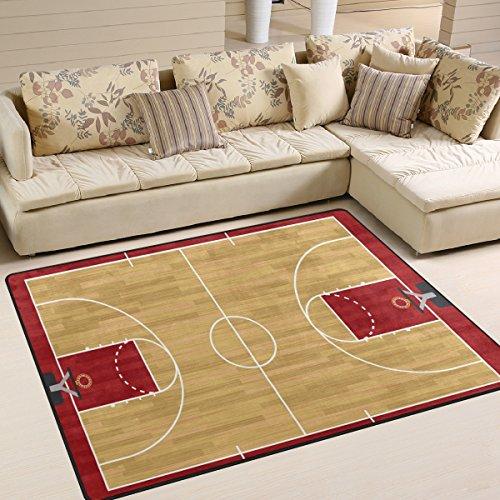 Use7 Tapis rétro pour salon ou chambre à coucher Motif terrain de basket 160 x 122 cm