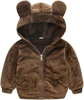 LOTUCY Baby Boys Girls Faux Fur Fleece Hoodie Winter Warm Coat Jacket Cute Bear Thick Clothes