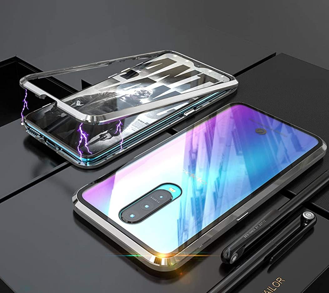 Oppo R17 Pro Case, UBERANT Metal Frame & Tempered Glass Back 2 in 1 Ultra-Thin Clear Luxury Scratch Resistant Shockproof Magnetic Adsorption Case for Oppo R17 Pro 6.4
