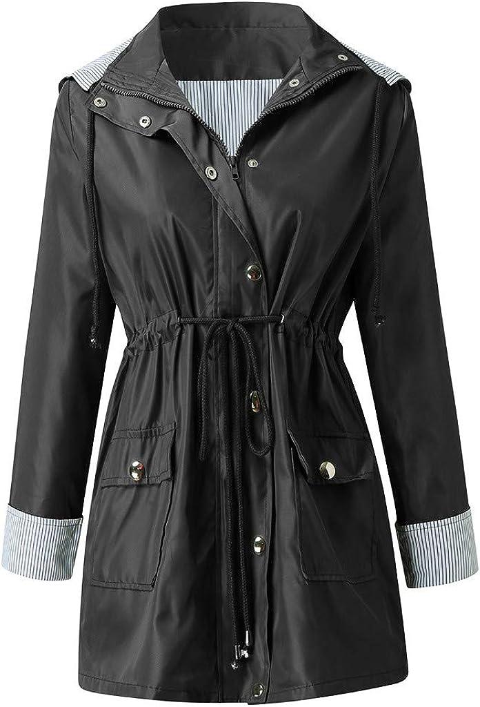 Women Lightweight Hood Raincoat Plus Size Windbreaker Jacket Waterproof Outwear Long Sleeve Zipper Up Anoraks Coat Overcoat