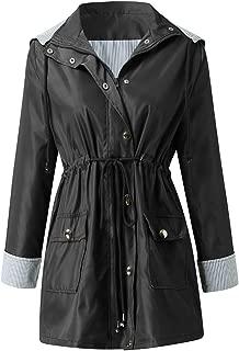 iHHAPY Women's Outdoor Jacket Windbreaker Raincoat Winter Trench Coat Hooded Warm Jacket Waterproof for Autumn Winter