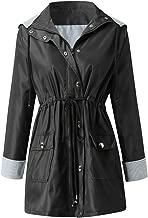 Holzkary Women's Anoraks Coat Loose Raincoats Windbreaker Rain Jacket Waterproof Hooded Outdoor Trench Coats