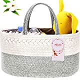 Diaper Caddy Organizer, ABenkle Cotton Rope Diaper Storage Basket, Portable Baby Basket for Boy's/Girl's Nursery Diaper Organizer for Changing Table- Ideal Gift for Christmas, Baby Shower (White Grey