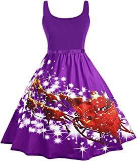 iTLOTL Christmas Vintage Dress for Women Christmas Print Housewife Evening Party Prom Sleeveless Dress