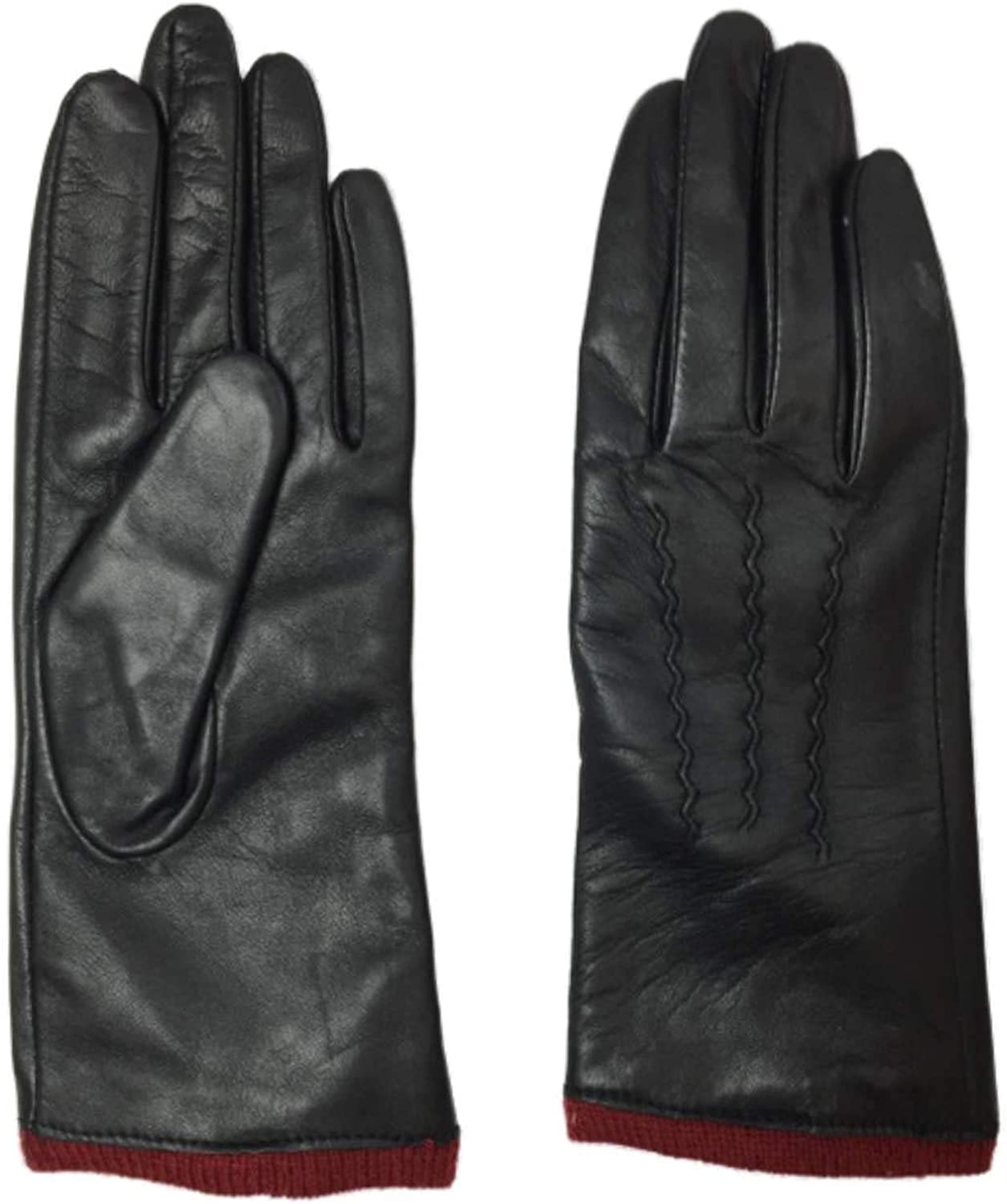 Womens Black & Red Leather Gloves Acrylic Lined Medium