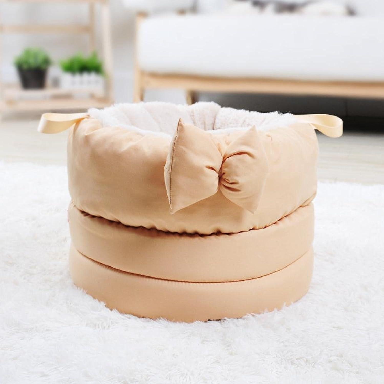 Dixinla Pet Bed Pet Litter Kennel cat nest pet Sleeping Bag Plush Butterfly Knot 40cmx 40cmx 28cm