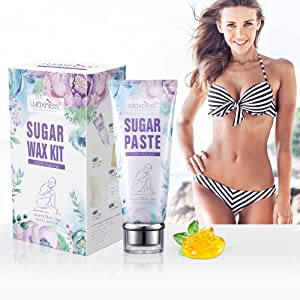 Waxkiss Waxing Kit Sugar Wax ,100% Natural Hair Remover Soft Sugar Paste For All Skin Types At Home Waxing Kit With Waxing Strips, Wooden Spatulas, Prewax Wipes
