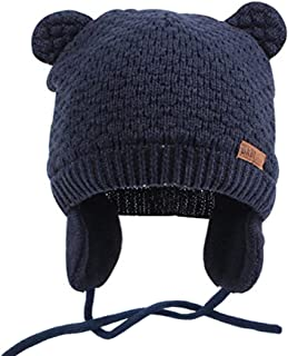 Infant Baby Boys Girls Knitted Hat with Earflaps Cute Beanie Skull Cap Warm Cuff Winter Bear Caps