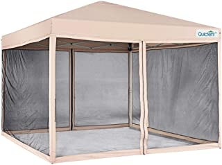Quictent 10x10 Ez Pop up Canopy with Netting Gazebo Mesh Side Wall Screen House Tent with Roller Bag Tan