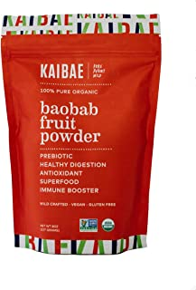 KAIBAE Organic Baobab Fruit Powder, Premium Prebiotic Superfood, Gluten-Free and Vegan (8 Ounce)