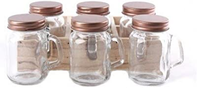 Gainsborough Gifts Mini Mason Jars with Copper Lid (Set of 6) (One Size) (Clear/Copper)