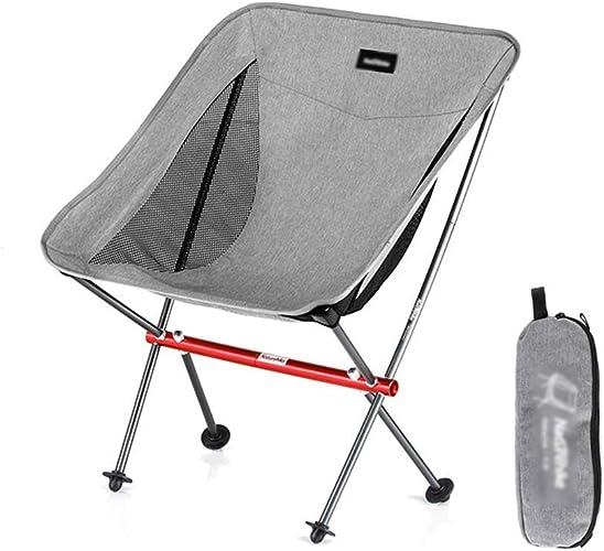 SCJS Chaise de Camping Pliante légère portative pour Le Sac à Dos, la randonnée, Le Pique-Nique, Une Longue Section et Un Court Paragraphe en Option (Couleur  Court Paragraphe-gris)