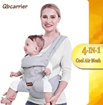 Baby Carrier-Front and Back for Newborn-4 in 1 Convertible Hip seat, Toddler Carrier with Hood,Infant Carrier with Cool Air Mesh