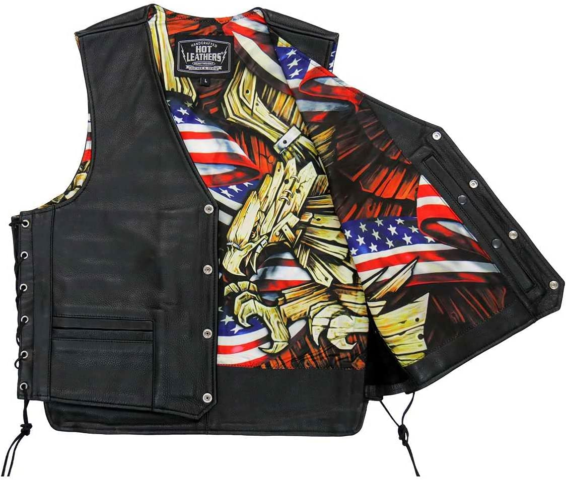 Hot Leathers VSM1065 Men's SALENEW Excellent very popular Black and 'Wooded Carr Conceal Eagle'
