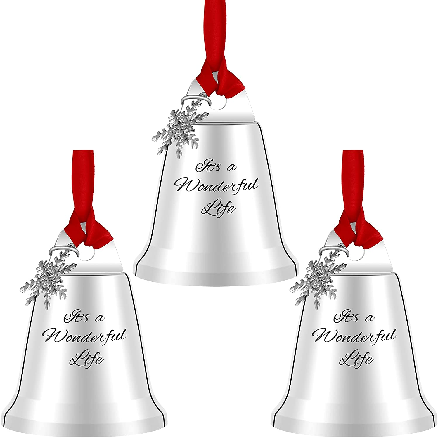 3 Pieces Christmas Bell Ornaments With Snowflake It's A Wonderful Life Hanging Bell Ornaments Christmas Silver Bell Ornaments with red ribbon Xmas Tree Bell Decors for Christmas Party Decor Supplies