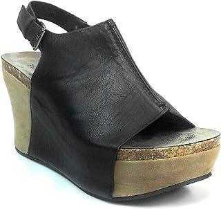 Pierre Dumas Womens Vegan Leather Peep-Toe Adjustable Ankle Strap Wedge Sandals Hester-14