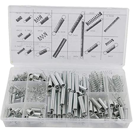 Sirius&Co Springs Extension of Zinc Plated Compression Springs Repair Tool Assortment Kit Silver Color Suit for 3D Printer,Machine DIY or Home Repairs(200Pcs)