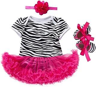 BaronHong Neugeborenes Baby Mädchen Outfits Leopard Streifen Strampler  Tutu Rock  Stirnband  Schuhe 4pcs Kleidung Set