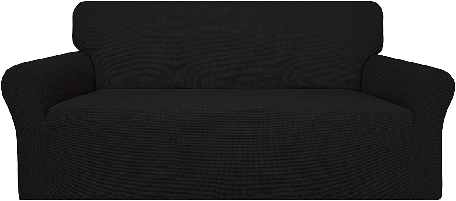 Easy-Going 100% Waterproof Couch Cover, Dual Waterproof Sofa Cover, Stretch Jacquard Sofa Slipcover, Leakproof Furniture Protector for Kids, Pets, Dog and Cat (Sofa, Black)