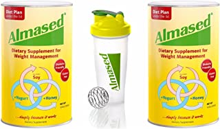 Almased High Quality Non-GMO with Soy, Yogurt and Honey, Protein Powder, Supports Weight Loss, Optimal Health and Maximum Energy, 17.6 Ounces 2-Pack with 1 Blender Bottle
