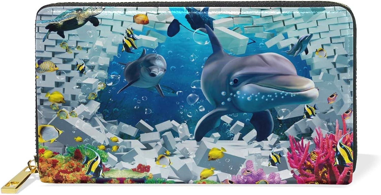 Women's Sealife Dolphin Fish Leather Wallet Cute Girl Zipper Clutch Purse