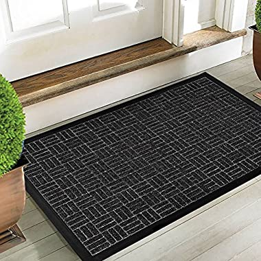 Large Outdoor Door Mats Rubber Shoes Scraper for Front Door Entrance Outside Doormat 24  x 36  Patio Rug Dirt Debris Mud Trapper Waterproof Indoor Door Mat Low Profile Washable Carpet Dark Grey