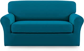 Best Easy-Going 2 Pieces Microfiber Stretch Couch Slipcover – Spandex Soft Fitted Sofa Couch Cover, Washable Furniture Protector with Elastic Bottom Kids,Pet (Loveseat, Peacock Blue) Review