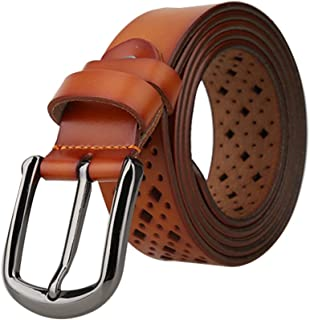 """uxcell® Unisex Hollow Leather Belts Rectangle Pattern with Alloy Buckle Width 1 1/4"""""""