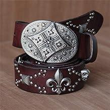 Rock Punk Jeans Cross Studded Belt Rivet Silver Buckle Leather Belt Casual Belt (Color : Brown, Size : Free size)