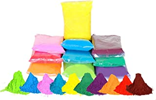 100 GMS X 10 Colors (Green, Blue, Pink, Purple, Bright Green, True Blue, red, Orange, Yellow) Premium Quality Holi Color Powder for Color Fights, Birthday Party, Gender Reveal by CraZeeColors