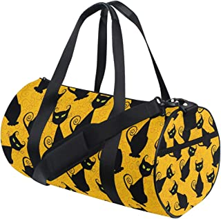 Ahomy Schultertasche mit schwarzer Katze und gelbem Hintergrund, leicht, Segeltuch, Reisetasche