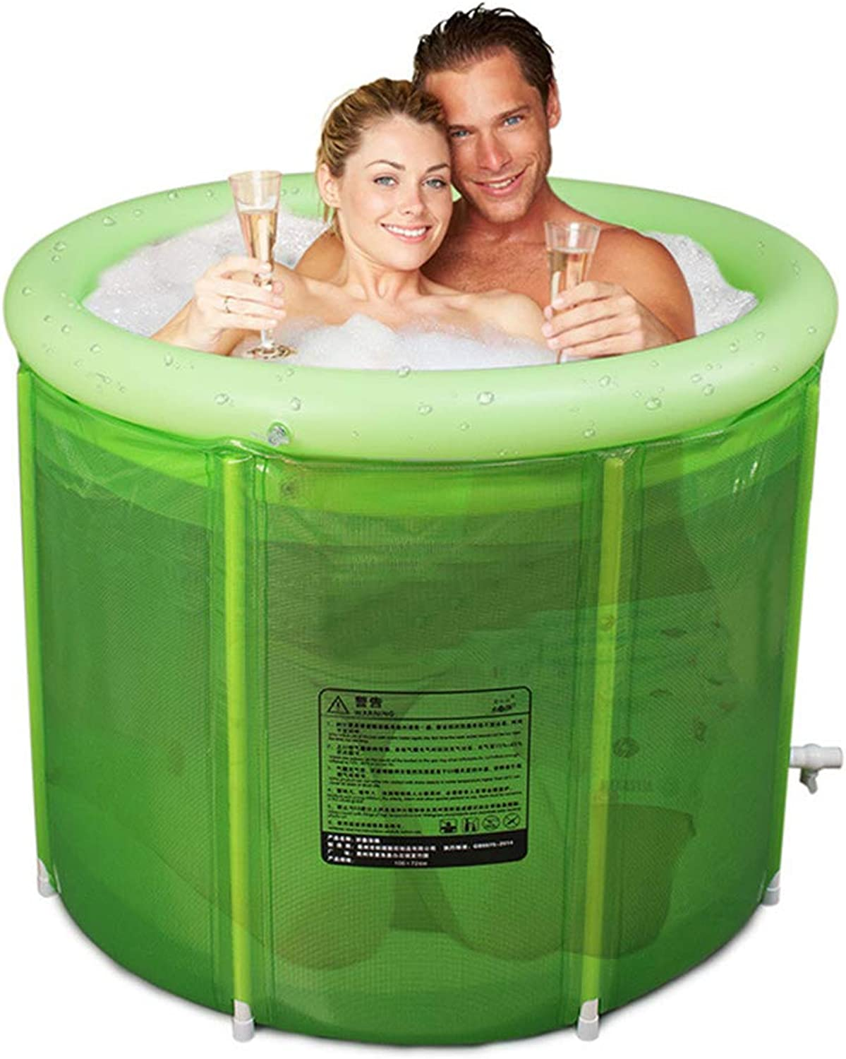 ZQ Double Adult Folding SPA Bathtub, Inflatable Plastic Bathtub, Household bathtub, Quality Deep Soaking Tub Bucket with Drain, Kids Anti-slippery Swimming Pool-green