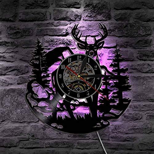 YZJYB Reloj De Pared con Registro De Vinilo Ciervo Luz De Pared De Led Atmósfera Vintage Silueta Registro Hecho A Mano Regalo Decoración Luz LED Luminosa De 7 Colores