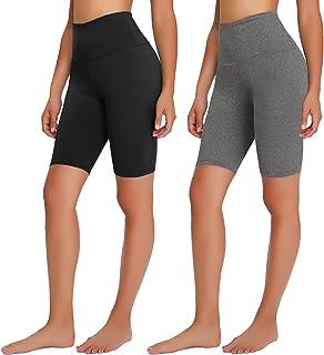 """TNNZEET 2 Pack Biker Shorts for Women - 8"""" Buttery Soft High Waisted Workout Running Athletic Shorts"""