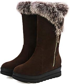 c9b06318 HOESCZS Tacones Altos Winter Fashion Low Cut Short Boots Casual New Ladies  Snow Boots Large Size