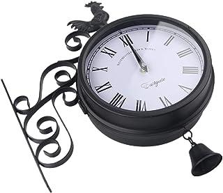 Fenteer Wall Clock Double Sided Indoor & Outdoor Garden Train Station Clock Vintage Antique Look Wall Mounted Black
