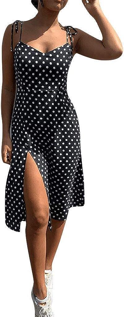 Franterd Dress Women Polka Dot Print V Neck Sleeveless Boho Long Maxi Party Dresses Casual Split Party Dresses