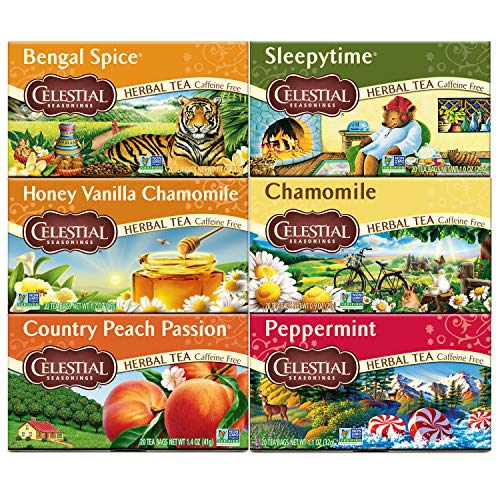 Celestial Seasonings Herbal Tea Variety Pack, Bengal Spice, Sleepytime, Honey Vanilla Chamomile, Country Peach Passion, Peppermint & Chamomile, Caffeine Free, 20 Tea Bags (Pack of 6)