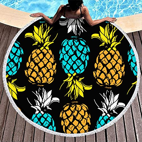 Ktewqmp Toalla de playa redonda con frutos de piña, toalla de playa para niños, toalla de baño, playa, hotel, blanco, 150 cm