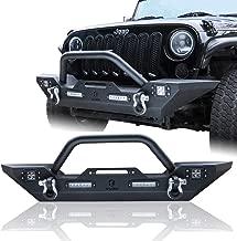 Hunter 2007-2017 Jeep Wrangler JK Front Bumper w/Winch Plate & 4X LED Lights (Textured Black Finished)