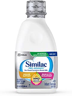 Similac Pro-Advance Non-GMO with 2'-FL HMO Infant Formula Ready-to-Feed, 1qt Bottles (Pack of 6)