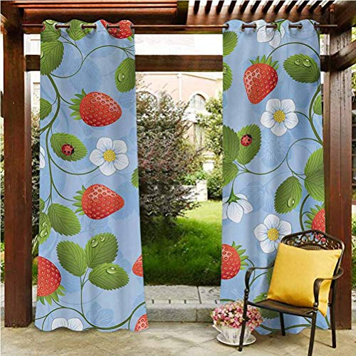 Ladybugs Outdoor Sheer Curtain Gazebo Garden Furniture House Strawberries Daisies and Ladybugs Looks Like Ivy Plant Spotted Insects Image Blue Green Red 118' W by 95' L(K299cm x G241cm)