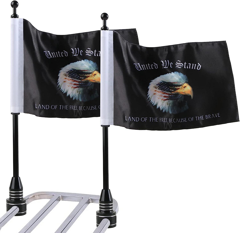 Motorcycle Eagle Flag Flags and Flagpole mart Stai Luggage Rack Fresno Mall Black