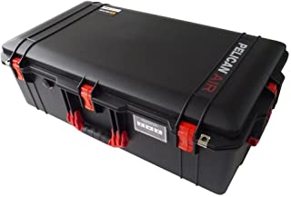 Black w/ Red handles & latches Pelican 1615 case. No Foam. With Wheels.