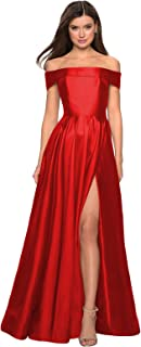 Women's Off The Shoulder A-line Satin Long Evening Prom Dress Formal Ball Gown with High Slit